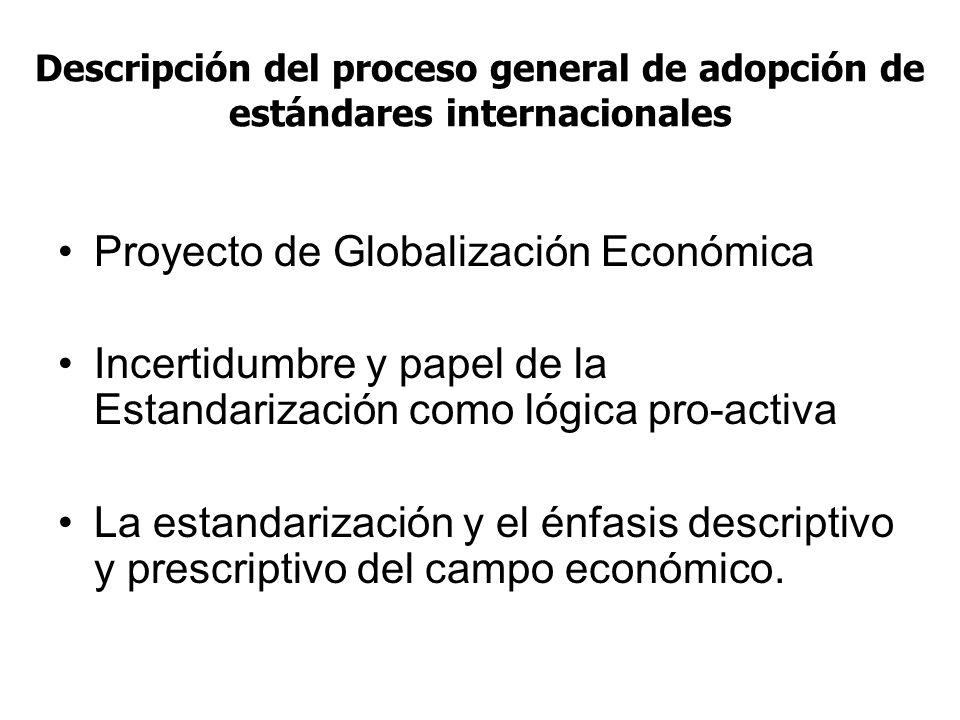 Descripción del proceso general de adopción de estándares internacionales Proyecto de Globalización Económica Incertidumbre y papel de la Estandarizac