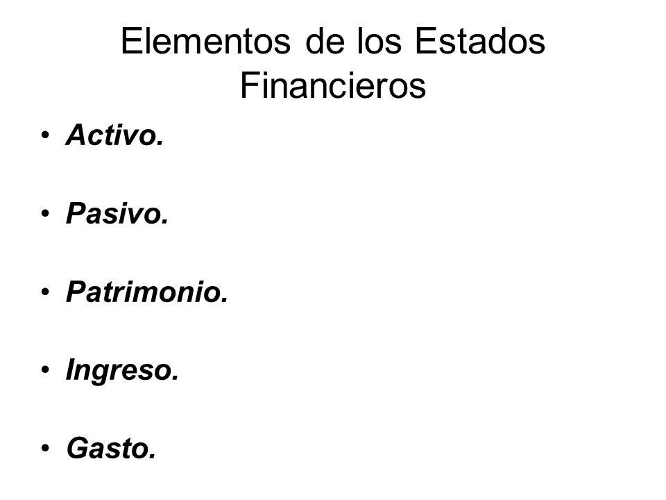 Elementos de los Estados Financieros Activo. Pasivo. Patrimonio. Ingreso. Gasto.
