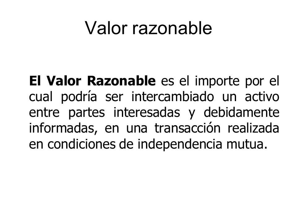 Valor razonable El Valor Razonable es el importe por el cual podría ser intercambiado un activo entre partes interesadas y debidamente informadas, en