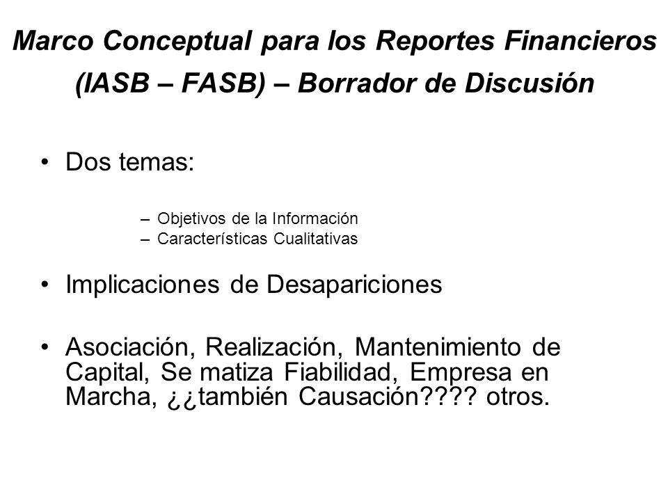 Marco Conceptual para los Reportes Financieros (IASB – FASB) – Borrador de Discusión Dos temas: –Objetivos de la Información –Características Cualitat