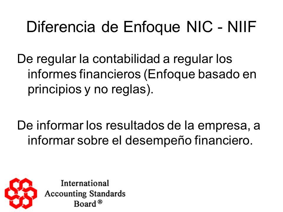 Diferencia de Enfoque NIC - NIIF De regular la contabilidad a regular los informes financieros (Enfoque basado en principios y no reglas). De informar