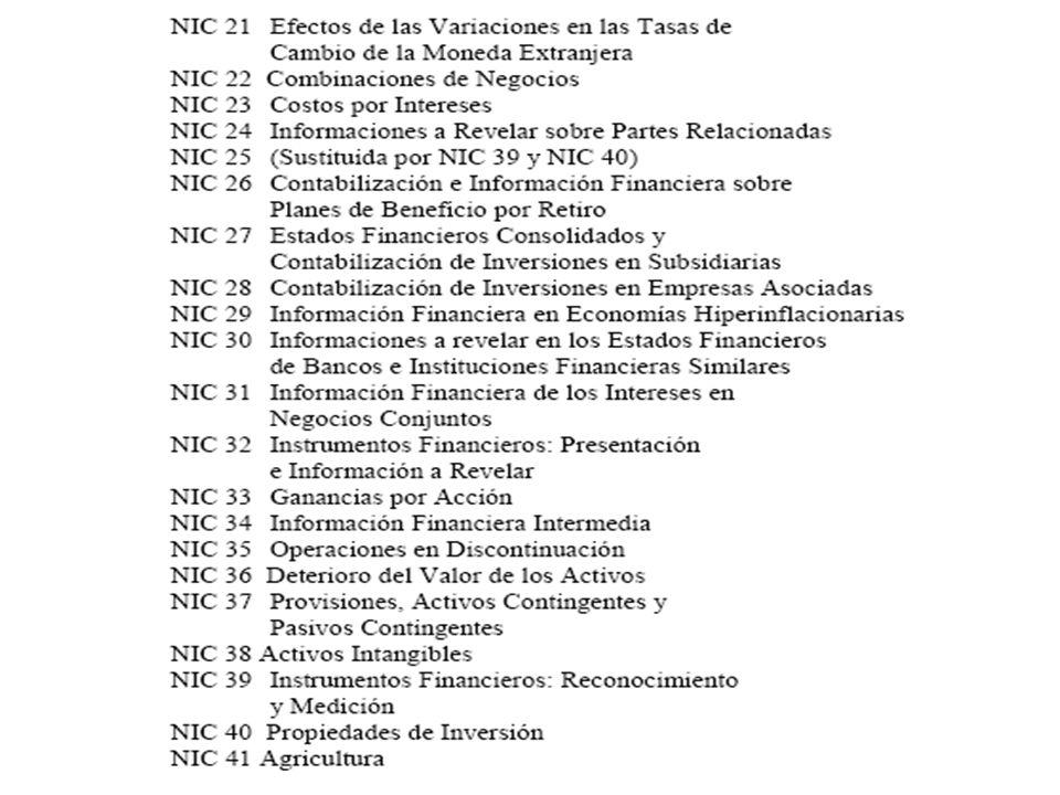 IFRS (NIIF) emitidos 1.Adopción por primera vez de IFRS (NIIF) 2.Pagos Basados en Acciones 3.Combinaciones de Negocios 4.Contratos de Seguro 5.Activos no corrientes mantenidos para la venta 6.Exploración y evaluación de recursos minerales 7.Revelaciones en Instrumentos Financieros 8.Operación por segmentos