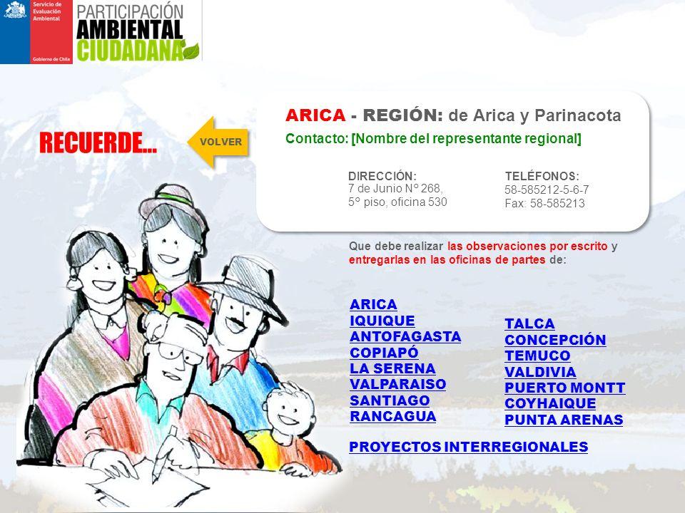 RECUERDE… ARICA - REGIÓN: de Arica y Parinacota DIRECCIÓN: 7 de Junio N° 268, 5° piso, oficina 530 TELÉFONOS: 58-585212-5-6-7 Fax: 58-585213 Contacto: [Nombre del representante regional] Que debe realizar las observaciones por escrito y entregarlas en las oficinas de partes de: VOLVER ARICA IQUIQUE ANTOFAGASTA COPIAPÓ LA SERENA VALPARAISO SANTIAGO RANCAGUA TALCA CONCEPCIÓN TEMUCO VALDIVIA PUERTO MONTT COYHAIQUE PUNTA ARENAS PROYECTOS INTERREGIONALES