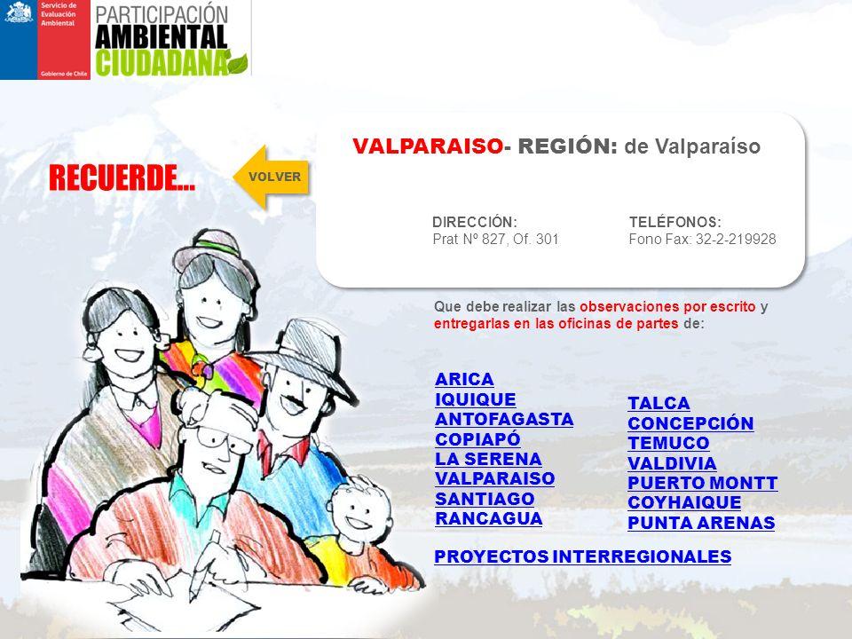 RECUERDE… VALPARAISO- REGIÓN: de Valparaíso DIRECCIÓN: Prat Nº 827, Of.