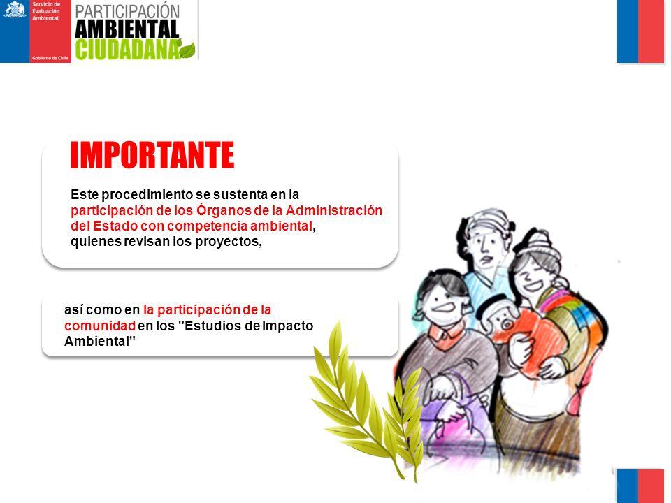 así como en la participación de la comunidad en los Estudios de Impacto Ambiental IMPORTANTE Este procedimiento se sustenta en la participación de los Órganos de la Administración del Estado con competencia ambiental, quienes revisan los proyectos,