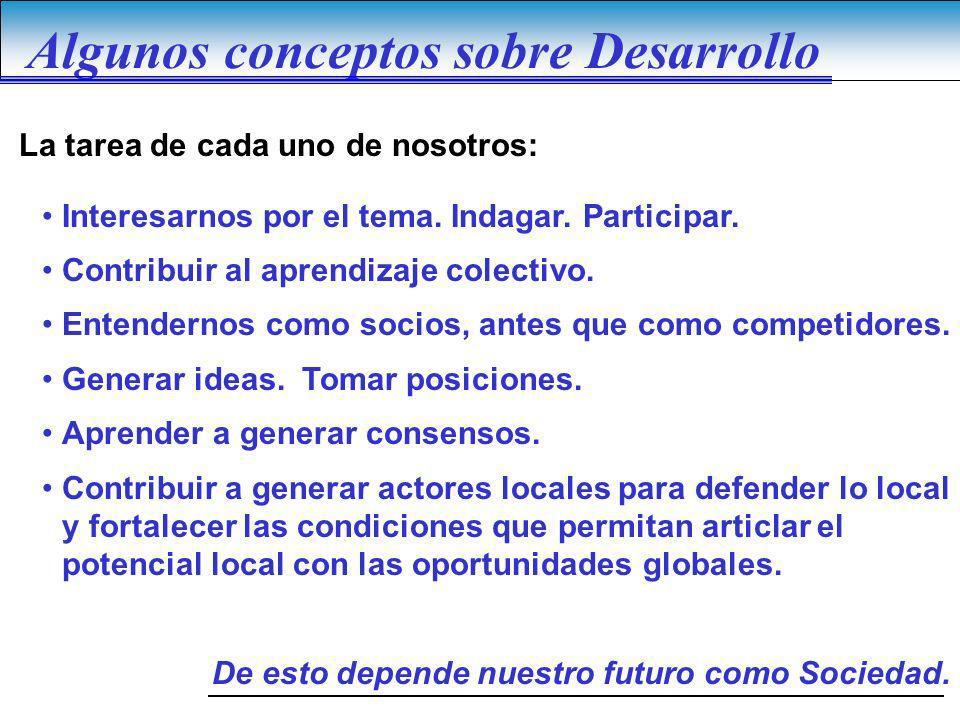 Algunos conceptos sobre Desarrollo Interesarnos por el tema. Indagar. Participar. Contribuir al aprendizaje colectivo. Entendernos como socios, antes