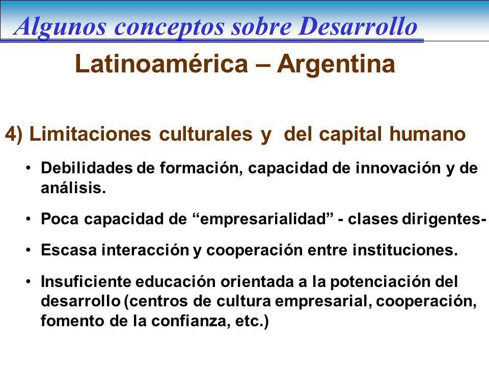 Latinoamérica – Argentina Debilidades de formación, capacidad de innovación y de análisis. Poca capacidad de empresarialidad - clases dirigentes- Esca