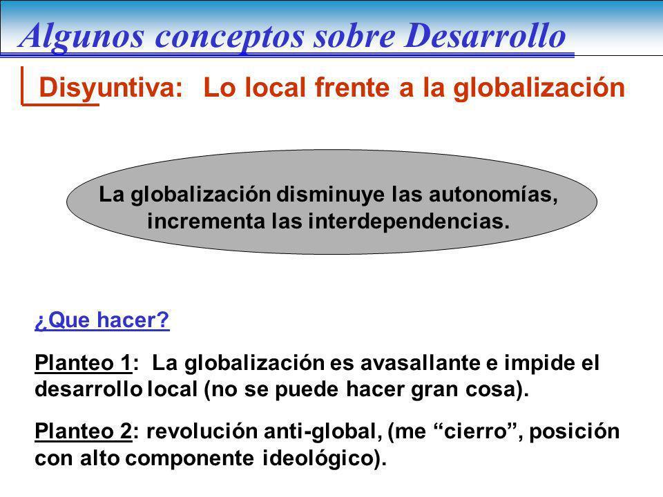 Disyuntiva: Lo local frente a la globalización La globalización disminuye las autonomías, incrementa las interdependencias. ¿Que hacer? Planteo 1: La