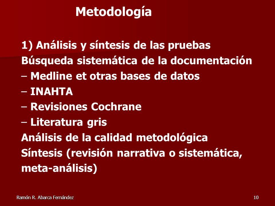 Ramón R. Abarca Fernández10 1) Análisis y síntesis de las pruebas Búsqueda sistemática de la documentación – Medline et otras bases de datos – INAHTA