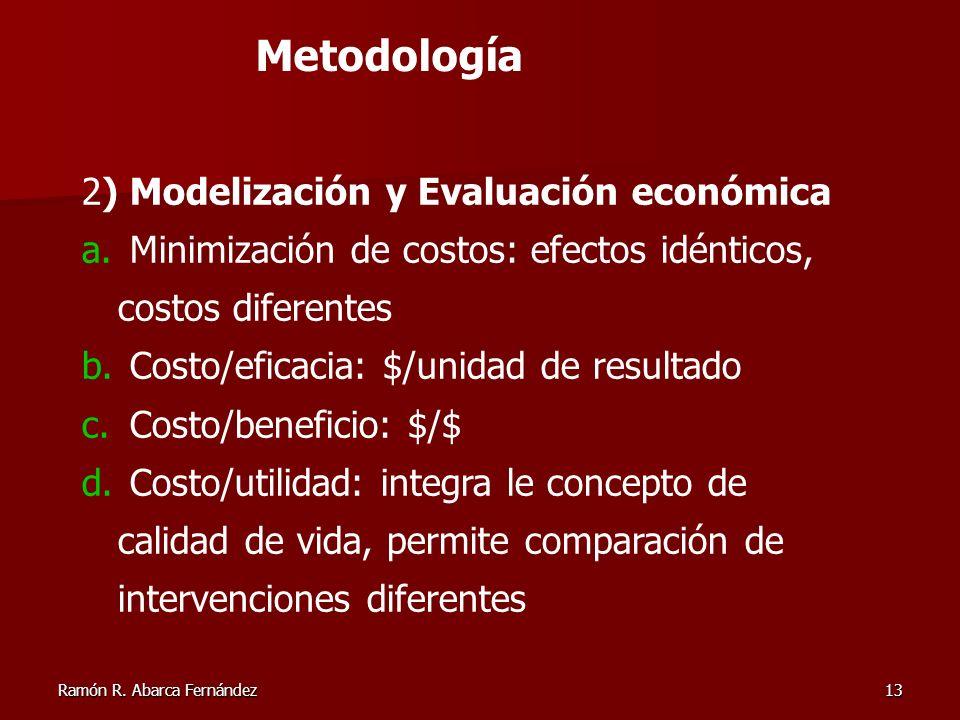 Ramón R. Abarca Fernández13 2) Modelización y Evaluación económica a. Minimización de costos: efectos idénticos, costos diferentes b. Costo/eficacia:
