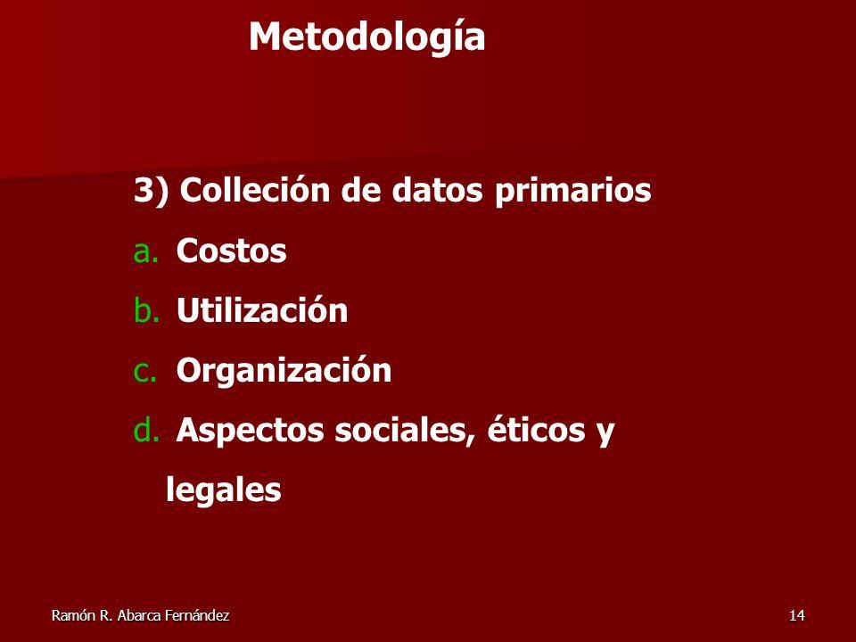Ramón R. Abarca Fernández14 3) Colleción de datos primarios a. Costos b. Utilización c. Organización d. Aspectos sociales, éticos y legales Metodologí