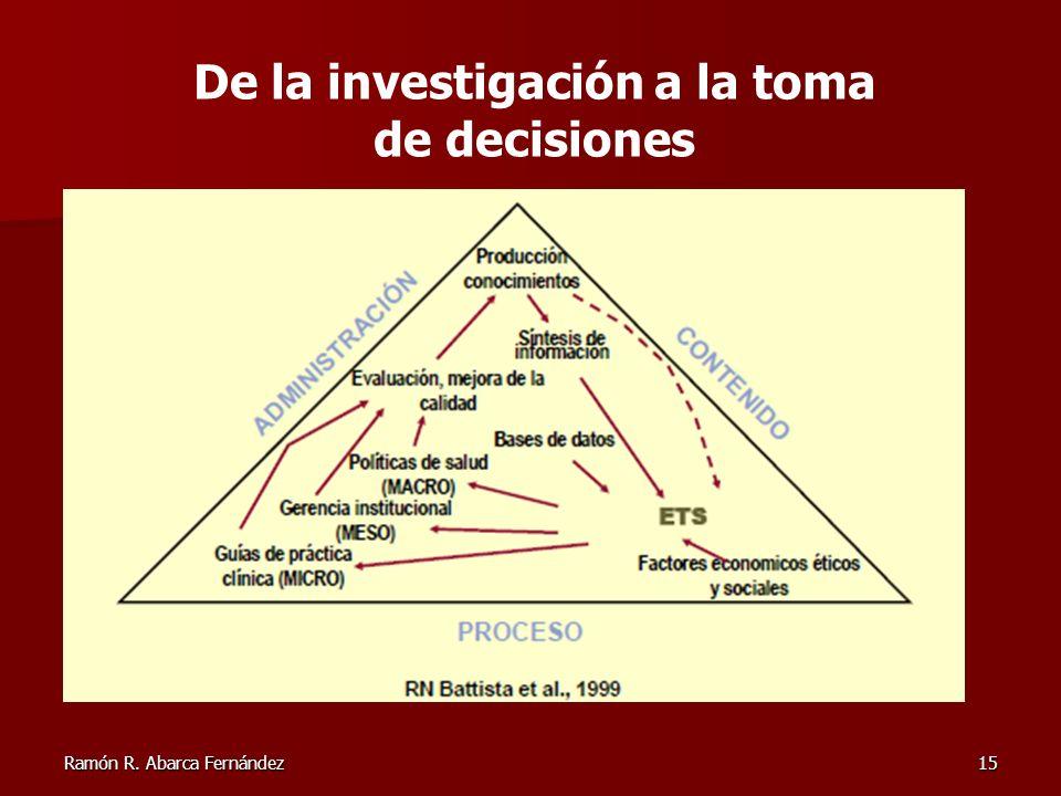 Ramón R. Abarca Fernández15 De la investigación a la toma de decisiones