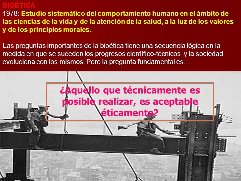 Ramón R. Abarca Fernández19 BIOÉTICA 1978: Estudio sistemático del comportamiento humano en el ámbito de las ciencias de la vida y de la atención de l