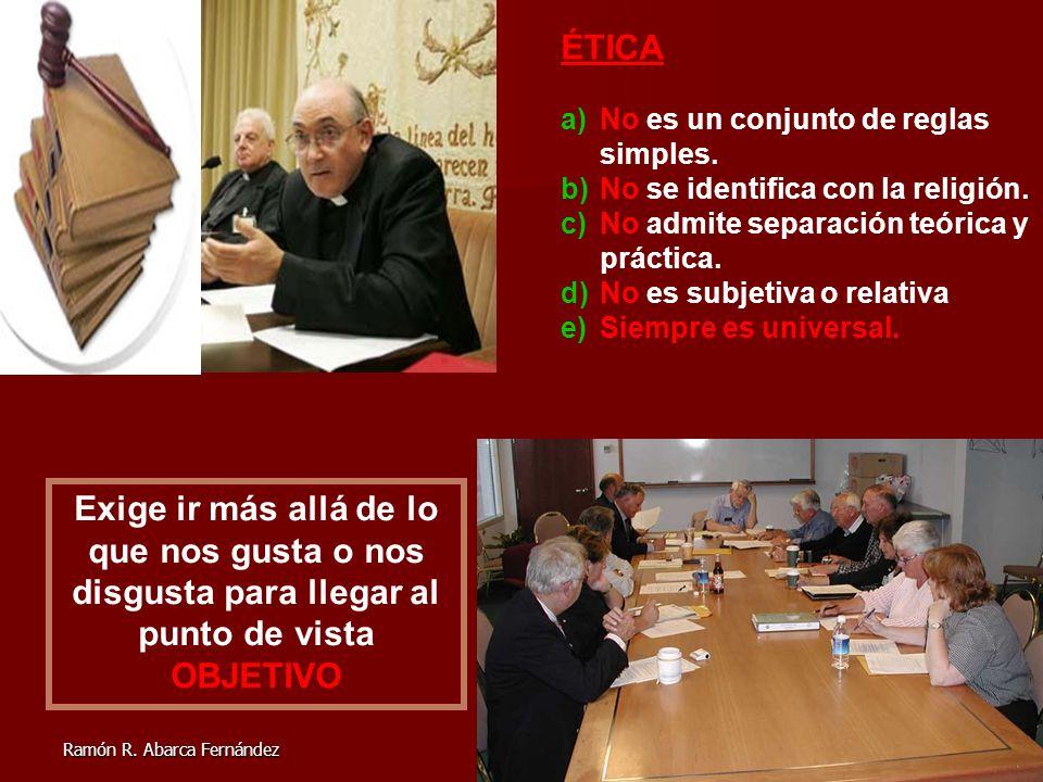 2 ÉTICA a)No es un conjunto de reglas simples. b)No se identifica con la religión. c)No admite separación teórica y práctica. d)No es subjetiva o rela