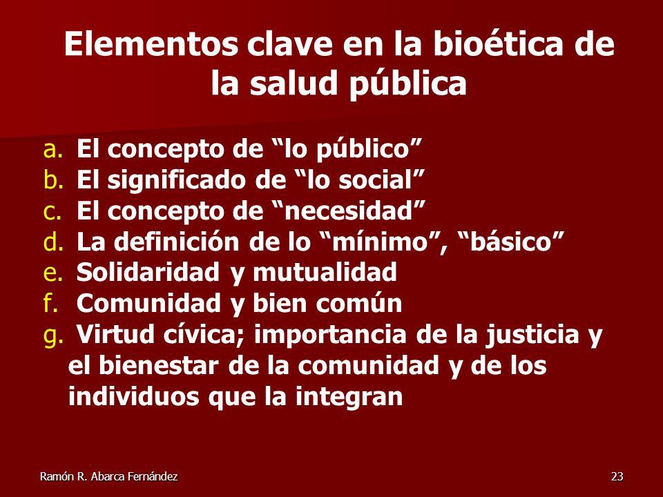 Ramón R. Abarca Fernández23 a. El concepto de lo público b. El significado de lo social c. El concepto de necesidad d. La definición de lo mínimo, bás