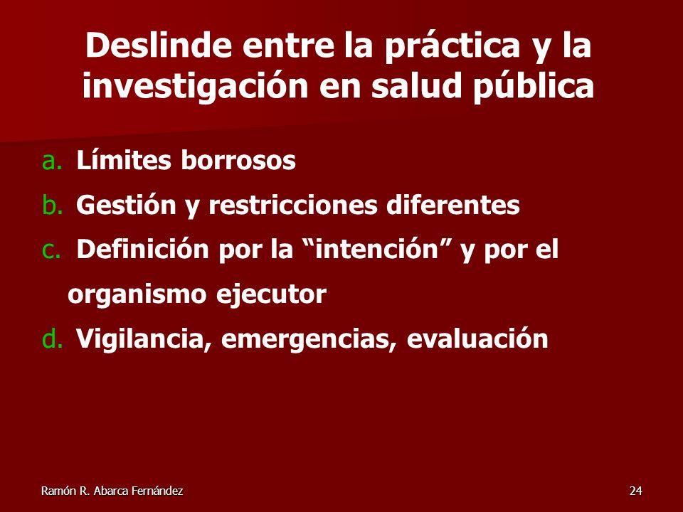 Ramón R. Abarca Fernández24 a. Límites borrosos b. Gestión y restricciones diferentes c. Definición por la intención y por el organismo ejecutor d. Vi