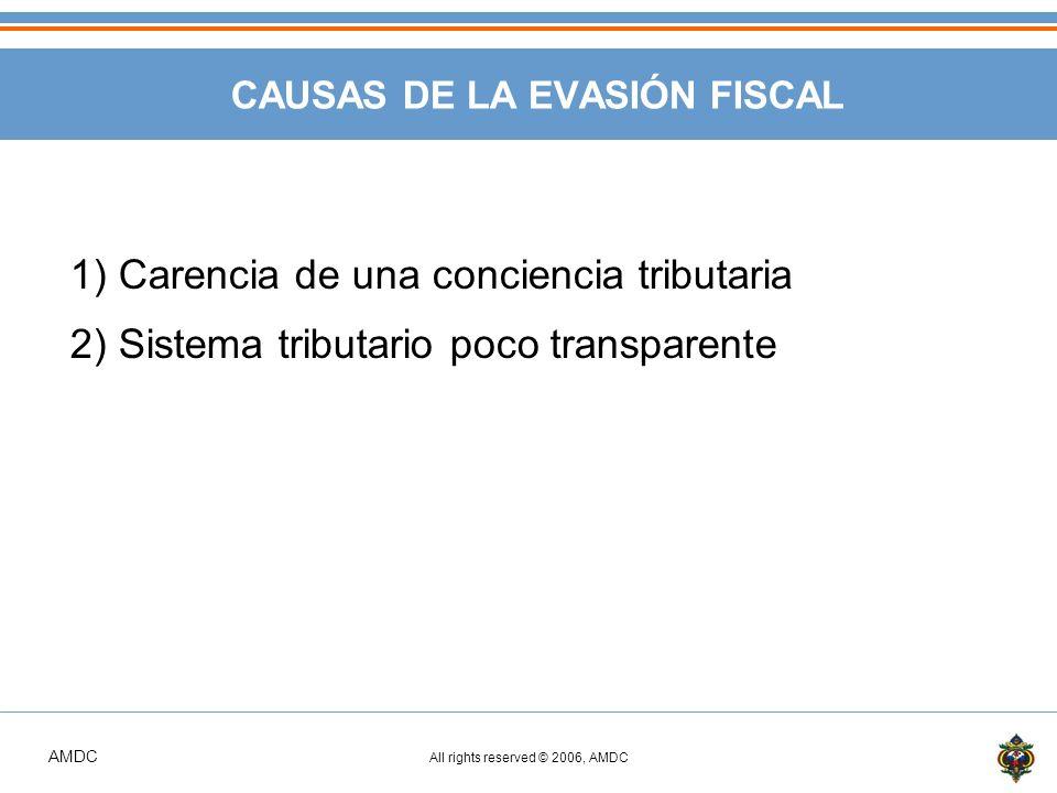AMDC All rights reserved © 2006, AMDC CAUSAS DE LA EVASIÓN FISCAL 1) Carencia de una conciencia tributaria 2) Sistema tributario poco transparente