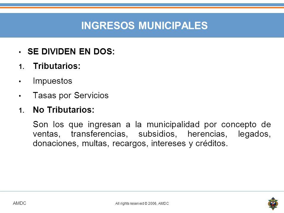 AMDC All rights reserved © 2006, AMDC INGRESOS MUNICIPALES SE DIVIDEN EN DOS: 1.
