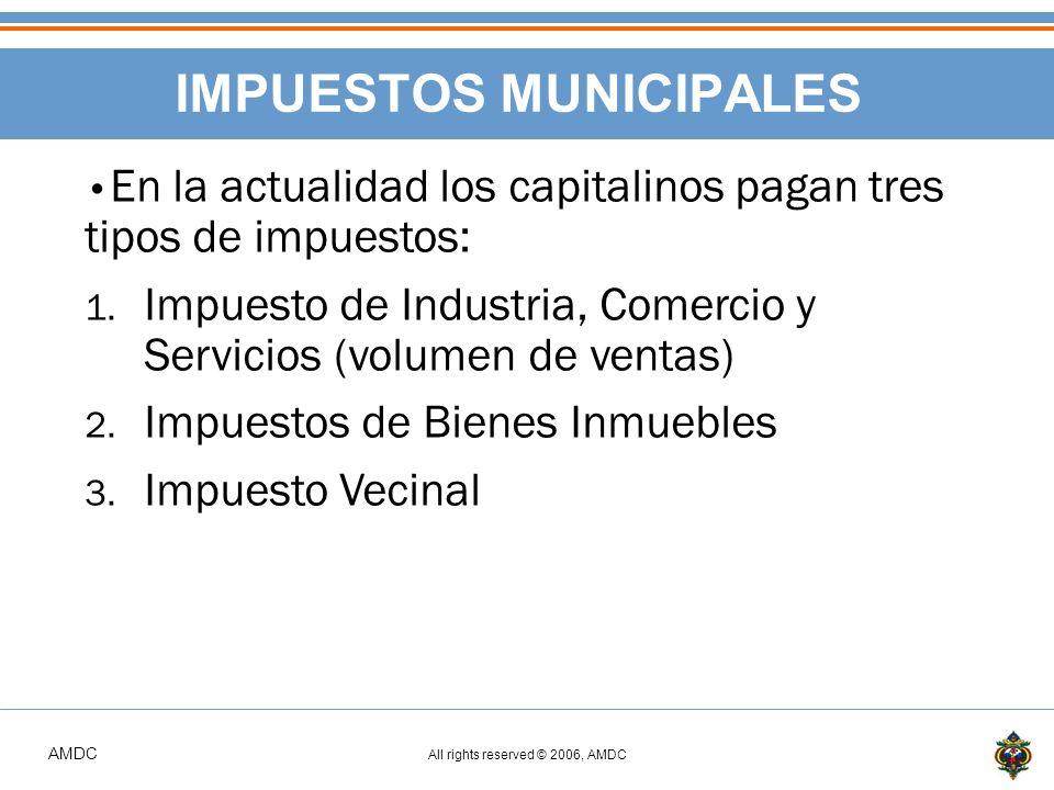 AMDC All rights reserved © 2006, AMDC IMPUESTOS MUNICIPALES En la actualidad los capitalinos pagan tres tipos de impuestos: 1.