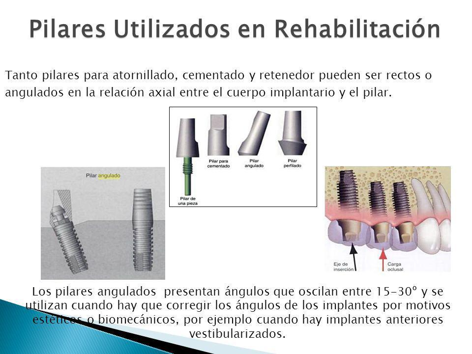 Los pilares angulados presentan ángulos que oscilan entre 15-30º y se utilizan cuando hay que corregir los ángulos de los implantes por motivos estéti
