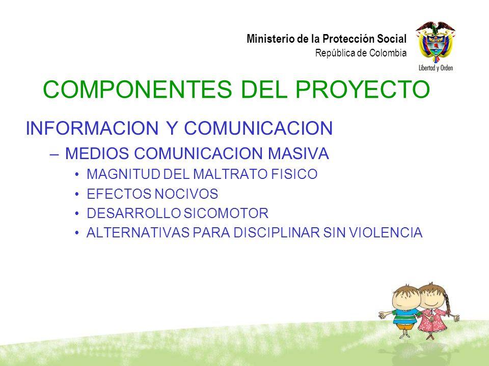 Ministerio de la Protección Social República de Colombia COMPONENTES DEL PROYECTO INFORMACION Y COMUNICACION –MEDIOS COMUNICACION MASIVA MAGNITUD DEL