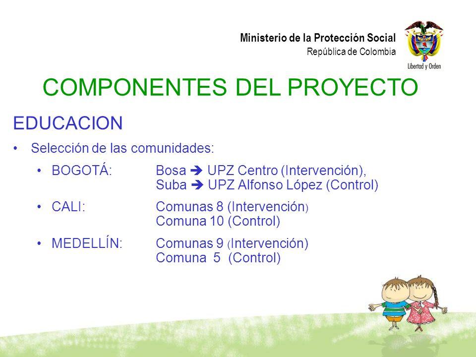 Ministerio de la Protección Social República de Colombia EDUCACION Selección de las comunidades: BOGOTÁ: Bosa UPZ Centro (Intervención), Suba UPZ Alfo