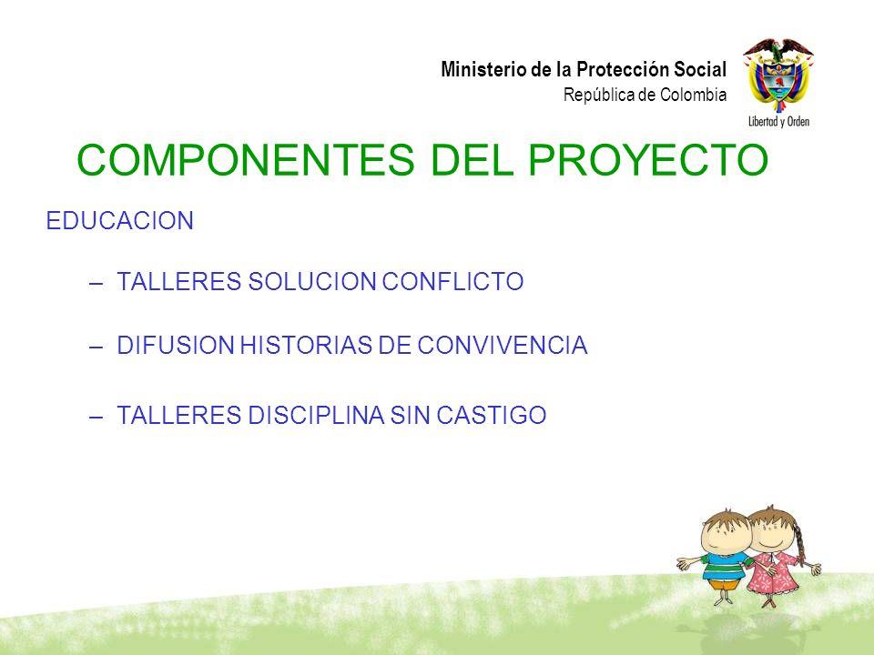 Ministerio de la Protección Social República de Colombia EDUCACION –TALLERES SOLUCION CONFLICTO –DIFUSION HISTORIAS DE CONVIVENCIA –TALLERES DISCIPLIN