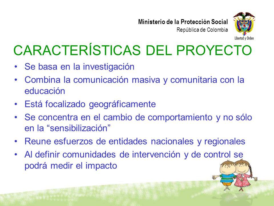 Ministerio de la Protección Social República de Colombia Se basa en la investigación Combina la comunicación masiva y comunitaria con la educación Est