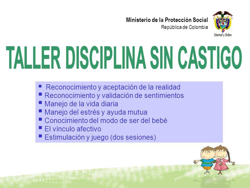 Ministerio de la Protección Social República de Colombia Reconocimiento y aceptación de la realidad Reconocimiento y validación de sentimientos Manejo