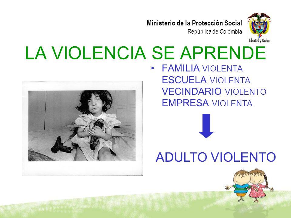 Ministerio de la Protección Social República de Colombia LA VIOLENCIA SE APRENDE FAMILIA VIOLENTA ESCUELA VIOLENTA VECINDARIO VIOLENTO EMPRESA VIOLENT