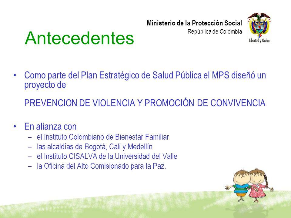 Ministerio de la Protección Social República de Colombia Antecedentes Como parte del Plan Estratégico de Salud Pública el MPS diseñó un proyecto de PR