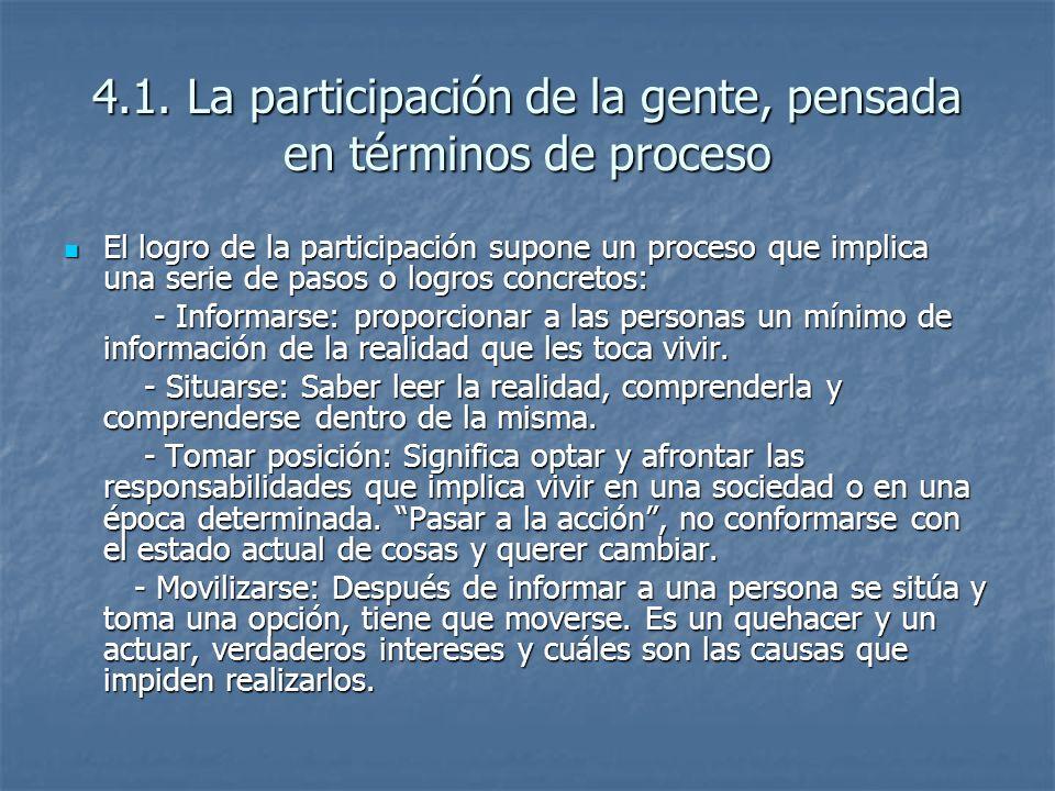 4.1. La participación de la gente, pensada en términos de proceso El logro de la participación supone un proceso que implica una serie de pasos o logr