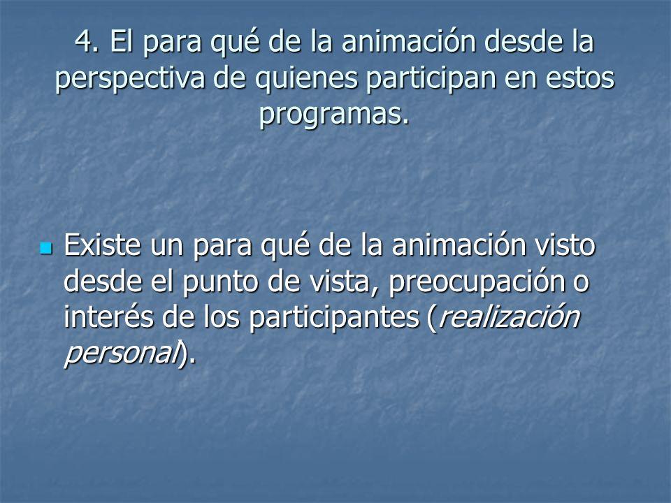 4.El para qué de la animación desde la perspectiva de quienes participan en estos programas.