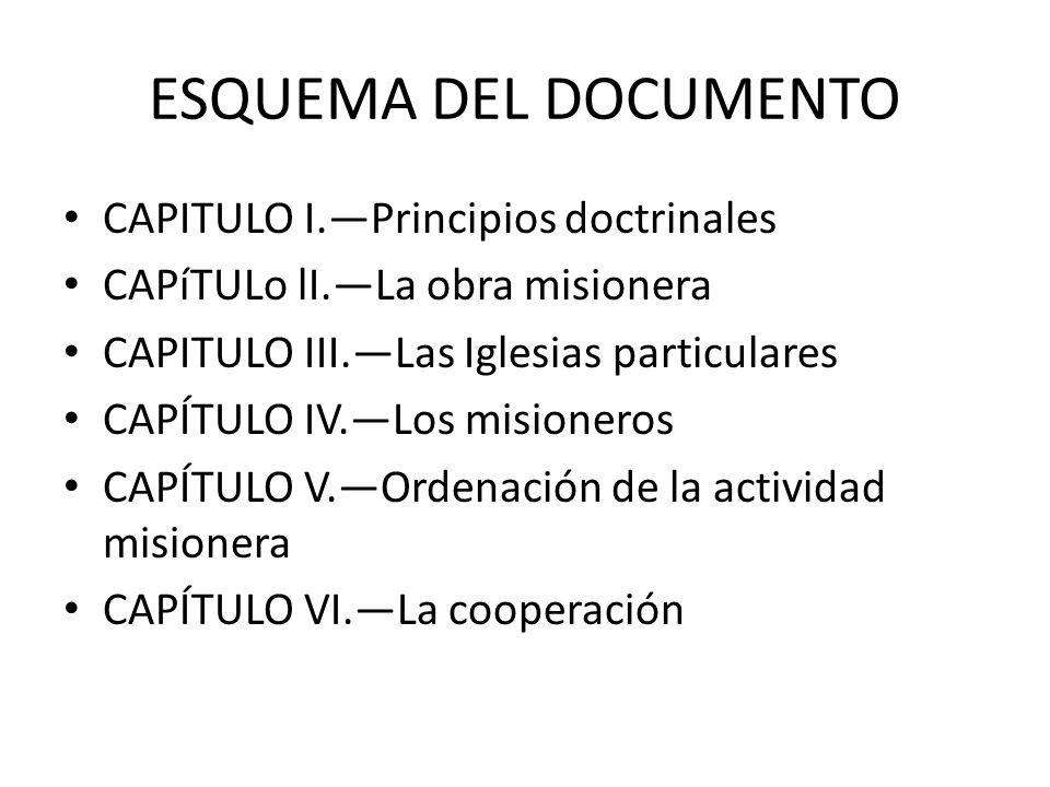 ESQUEMA DEL DOCUMENTO CAPITULO I.Principios doctrinales CAPíTULo lI.La obra misionera CAPITULO III.Las Iglesias particulares CAPÍTULO IV.Los misionero