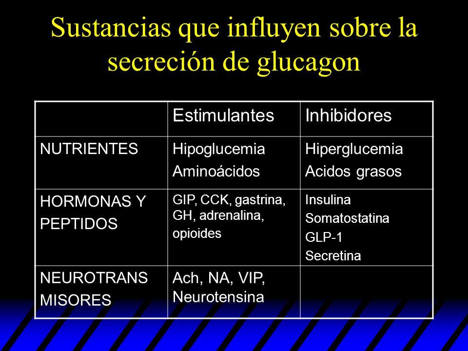 Sustancias que influyen sobre la secreción de glucagon EstimulantesInhibidores NUTRIENTESHipoglucemia Aminoácidos Hiperglucemia Acidos grasos HORMONAS
