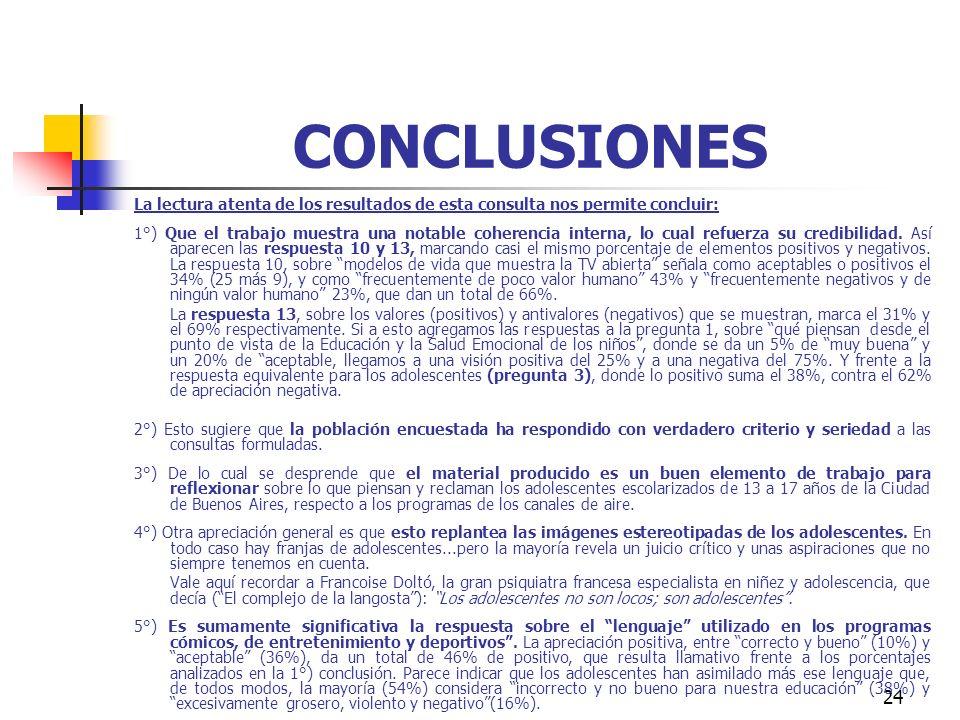 24 CONCLUSIONES La lectura atenta de los resultados de esta consulta nos permite concluir: 1°) Que el trabajo muestra una notable coherencia interna,