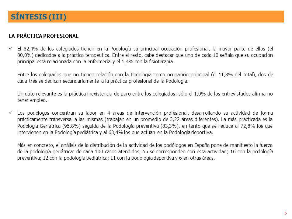 5 LA PRÁCTICA PROFESIONAL El 82,4% de los colegiados tienen en la Podología su principal ocupación profesional, la mayor parte de ellos (el 80,0%) dedicados a la práctica terapéutica.