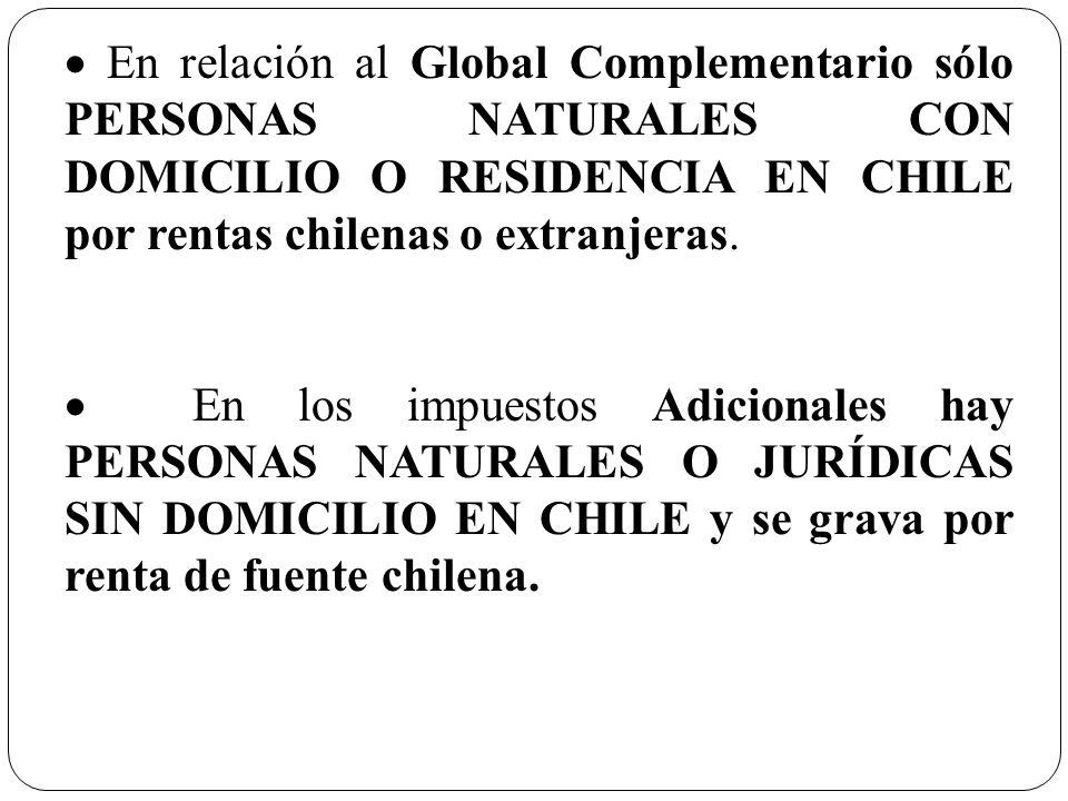 En relación al Global Complementario sólo PERSONAS NATURALES CON DOMICILIO O RESIDENCIA EN CHILE por rentas chilenas o extranjeras. En los impuestos A