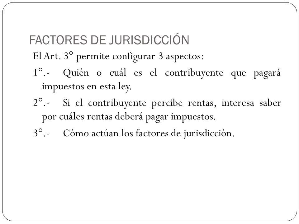 FACTORES DE JURISDICCIÓN El Art. 3° permite configurar 3 aspectos: 1°.-Quién o cuál es el contribuyente que pagará impuestos en esta ley. 2°.-Si el co