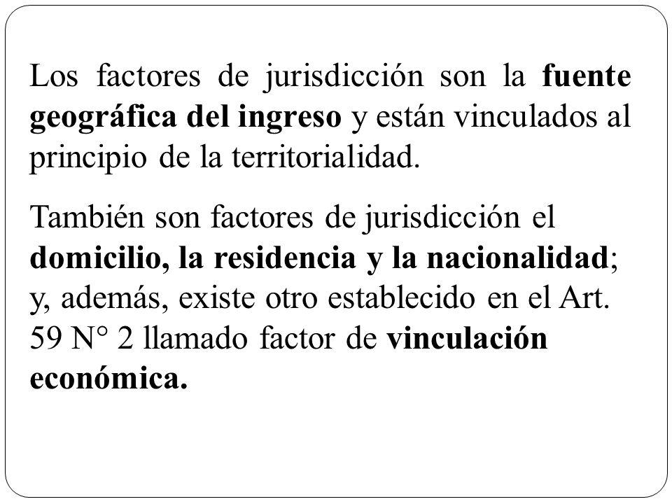 Los factores de jurisdicción son la fuente geográfica del ingreso y están vinculados al principio de la territorialidad. También son factores de juris