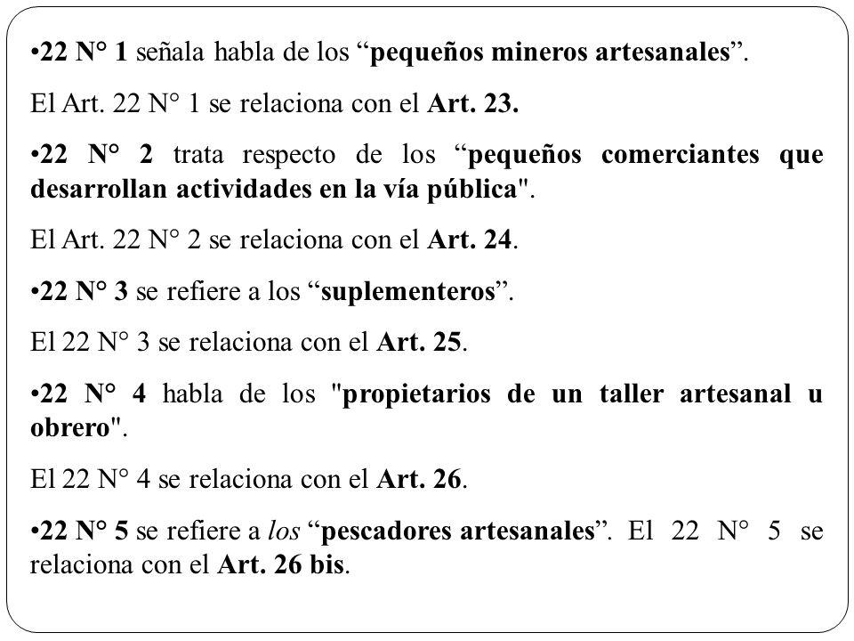 22 N° 1 señala habla de los pequeños mineros artesanales. El Art. 22 N° 1 se relaciona con el Art. 23. 22 N° 2 trata respecto de los pequeños comercia