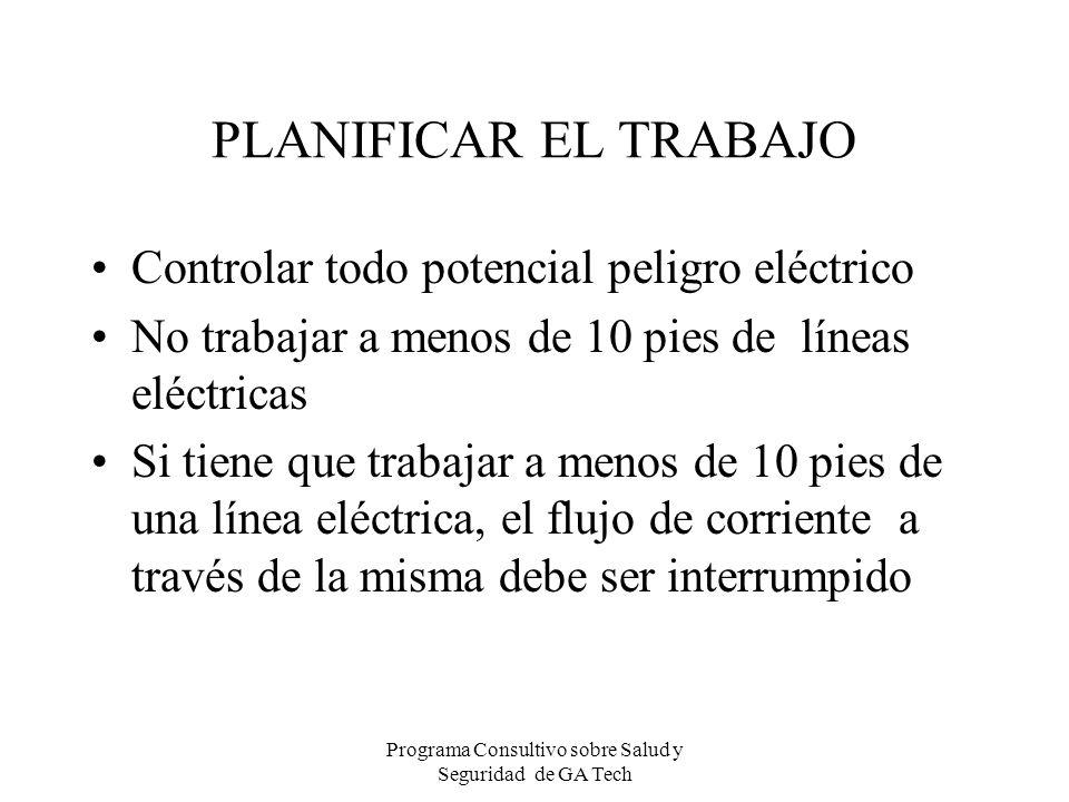 PLANIFICAR EL TRABAJO Controlar todo potencial peligro eléctrico No trabajar a menos de 10 pies de líneas eléctricas Si tiene que trabajar a menos de