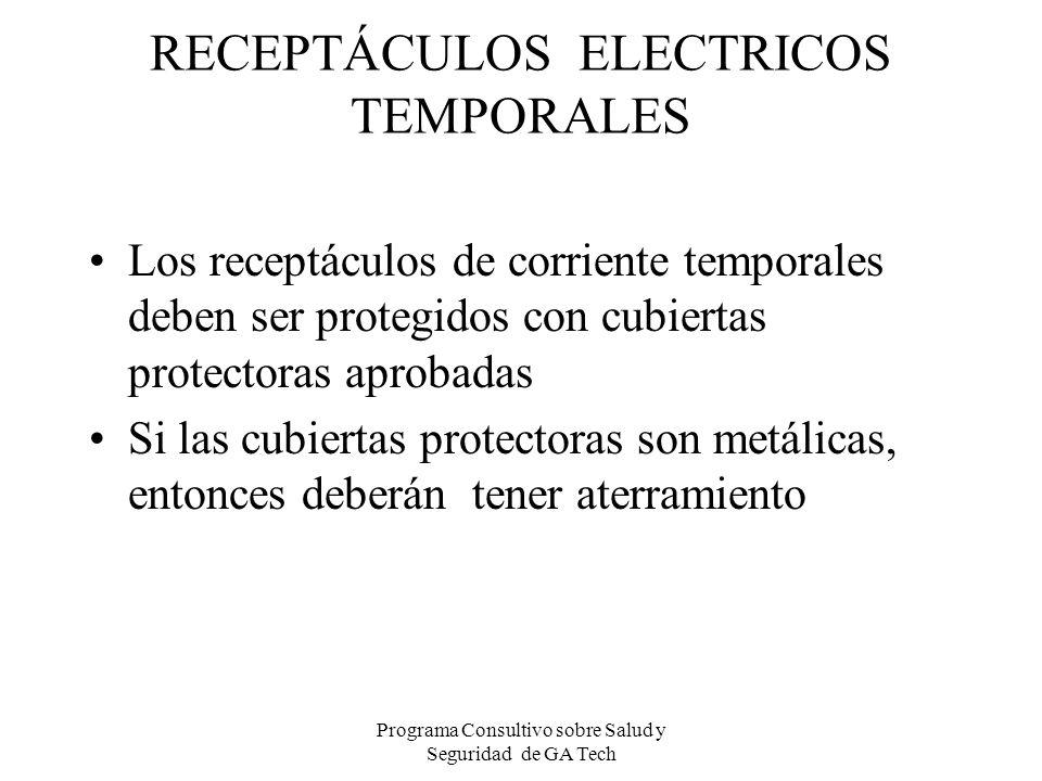 RECEPTÁCULOS ELECTRICOS TEMPORALES Los receptáculos de corriente temporales deben ser protegidos con cubiertas protectoras aprobadas Si las cubiertas