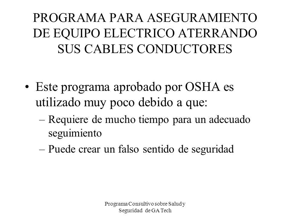 PROGRAMA PARA ASEGURAMIENTO DE EQUIPO ELECTRICO ATERRANDO SUS CABLES CONDUCTORES Este programa aprobado por OSHA es utilizado muy poco debido a que: –