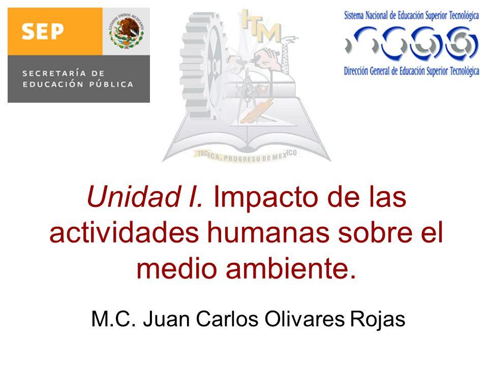 Unidad I. Impacto de las actividades humanas sobre el medio ambiente. M.C. Juan Carlos Olivares Rojas