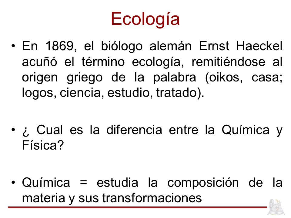Ecología En 1869, el biólogo alemán Ernst Haeckel acuñó el término ecología, remitiéndose al origen griego de la palabra (oikos, casa; logos, ciencia,