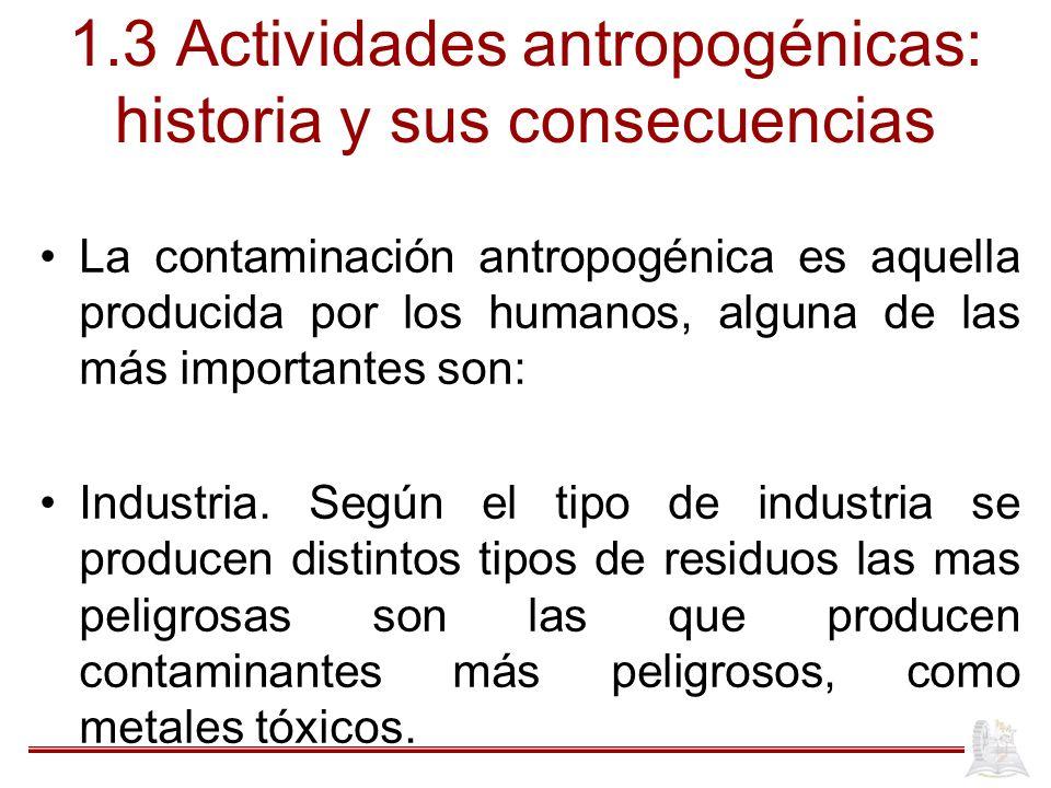 1.3 Actividades antropogénicas: historia y sus consecuencias La contaminación antropogénica es aquella producida por los humanos, alguna de las más im