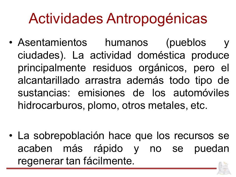 Actividades Antropogénicas Asentamientos humanos (pueblos y ciudades). La actividad doméstica produce principalmente residuos orgánicos, pero el alcan