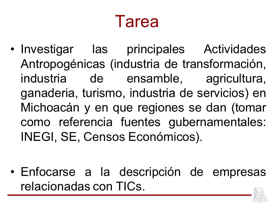 Tarea Investigar las principales Actividades Antropogénicas (industria de transformación, industria de ensamble, agricultura, ganaderia, turismo, indu