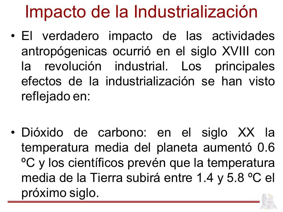 Impacto de la Industrialización El verdadero impacto de las actividades antropógenicas ocurrió en el siglo XVIII con la revolución industrial. Los pri